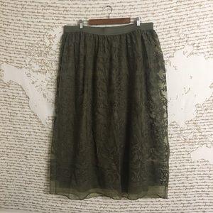 Lane Bryant Olive Green Elastic Waist Maxi Skirt